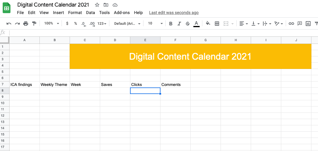 columns for ICA, goals and themes