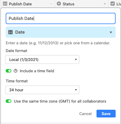 Publish date with time switched on - Airtable