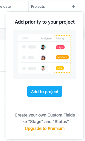 custom fields in Asana