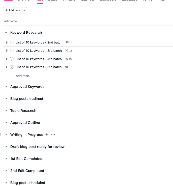 List view in Asana