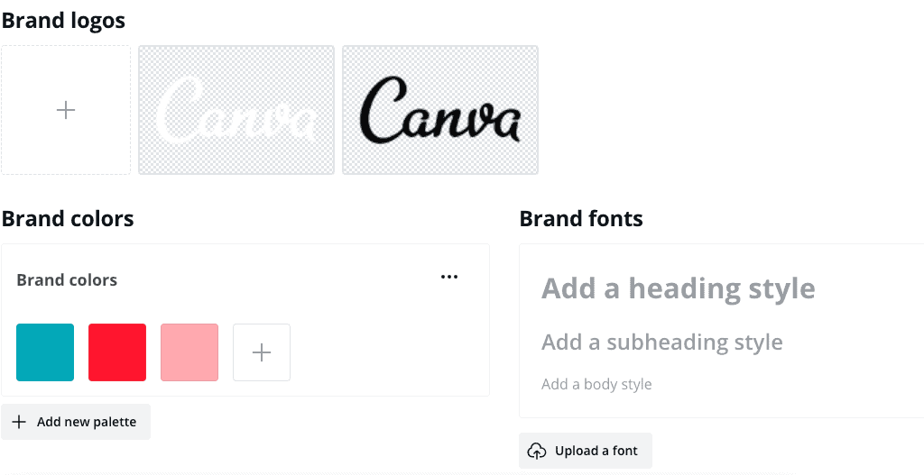 image showing the brand kit area inside Canva