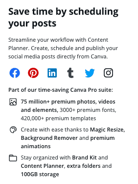 Canva content planner features
