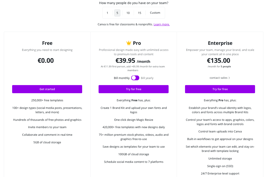 a screenshot of Canva pro pricing for team members