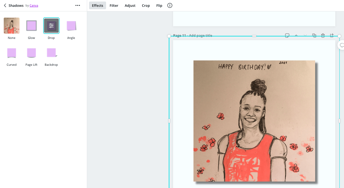 screenshot of the shadows feature in Canva