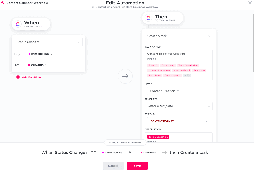 ClickUp automation - when status changes - 2