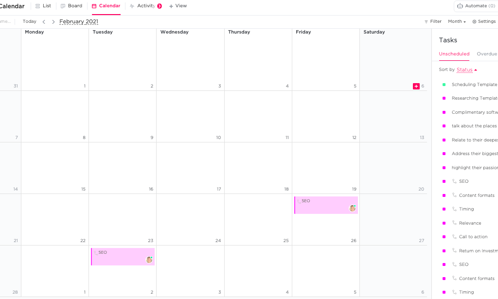 the Calendar view on ClickUp
