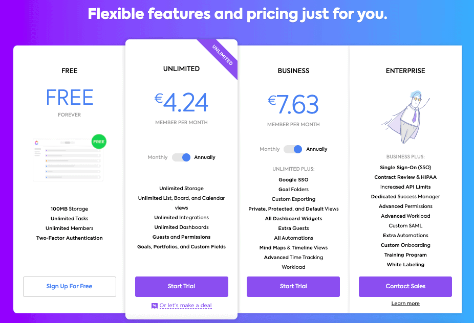 Pricing models on ClickUp