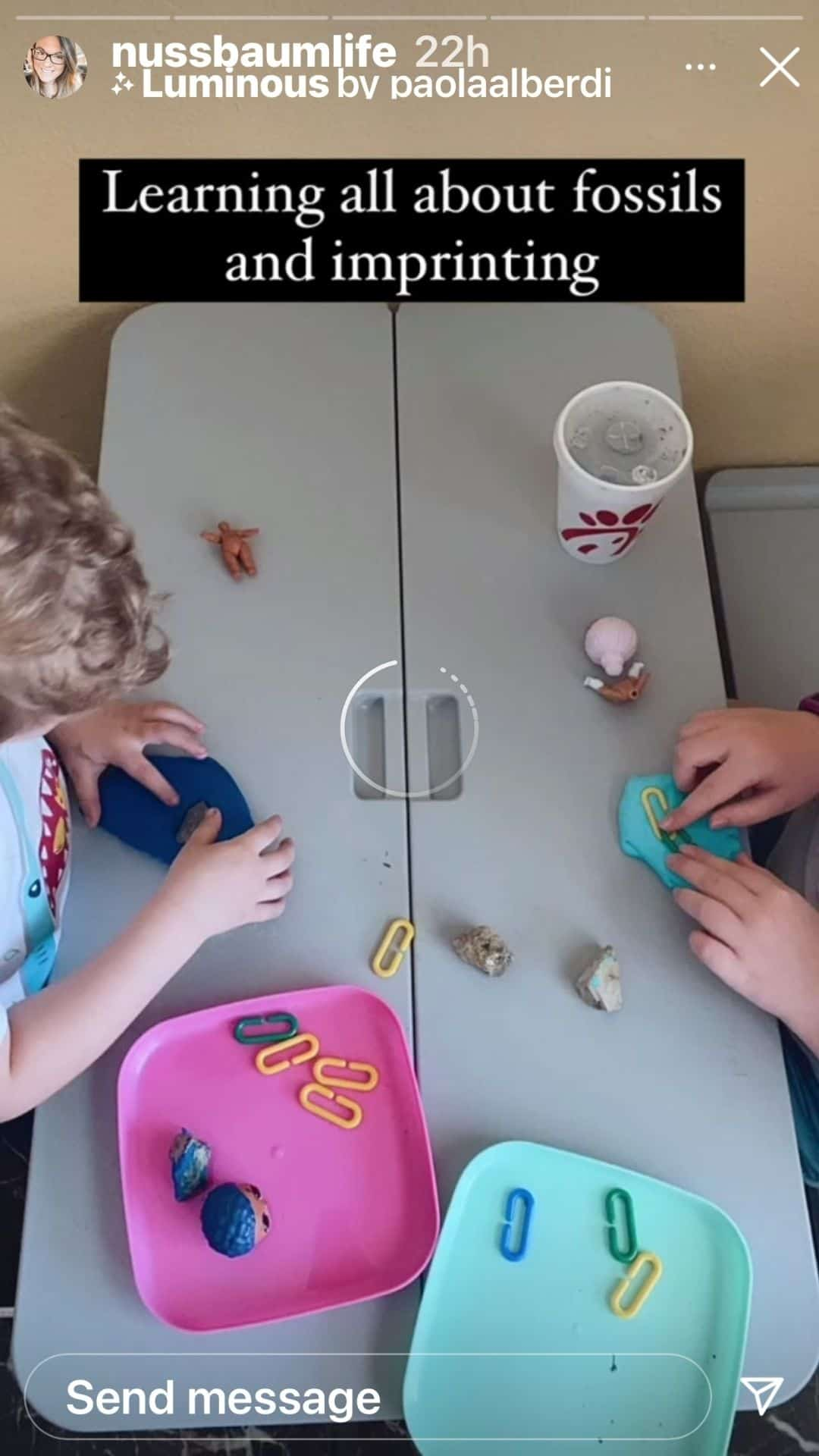 Kids making fossils at home