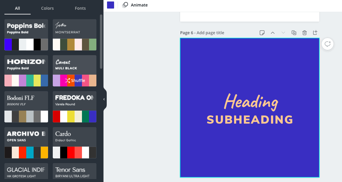 screenshot showing the styles feature in Canva