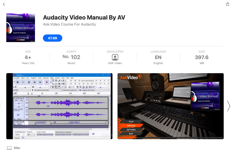 screenshot of Audacity video course - app store