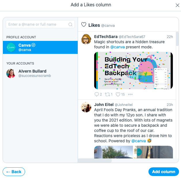 Canva likes preview - TweetDeck