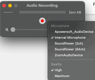 screenshot of  Quicktime audio recording