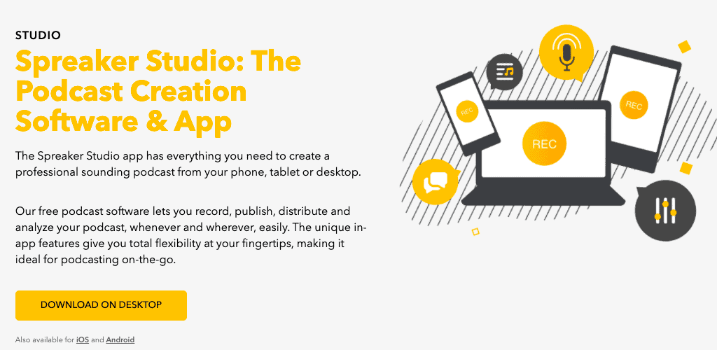 screenshot of Spreaker studio features