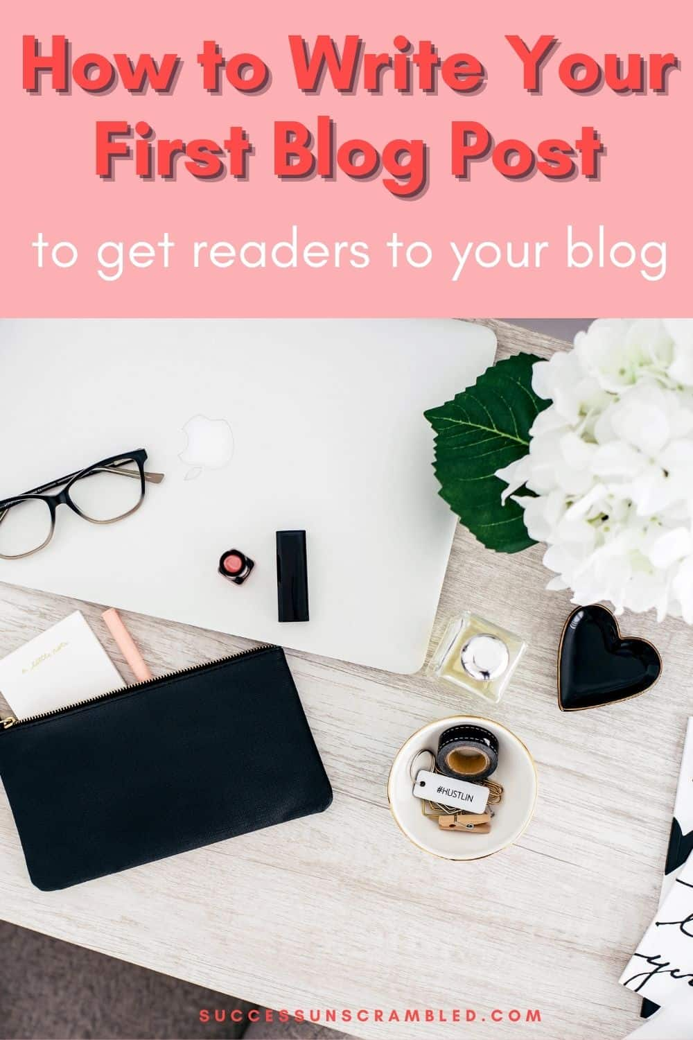 photo of closed laptop on desk with glasses, lipstick and ladies purse