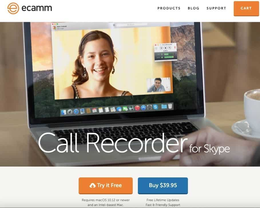 a screenshot of eCamm call recorder for Skype