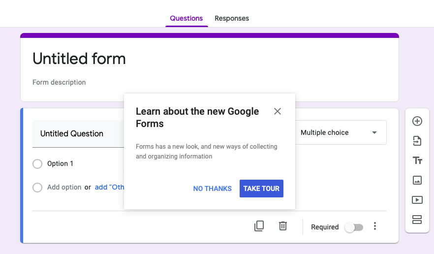 Blank Google Forms view