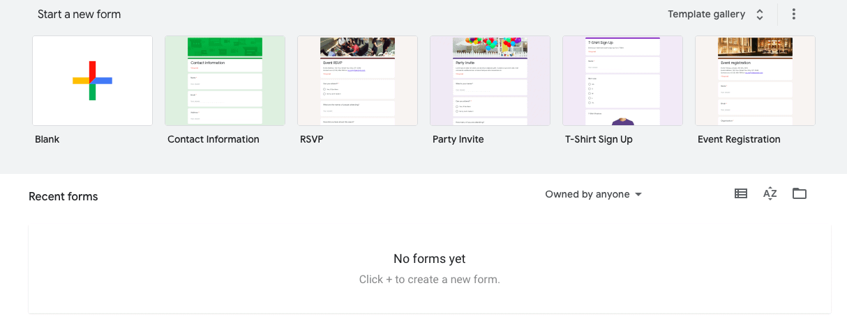 Google forms home view