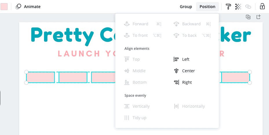 Use position feature in Canva
