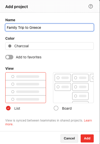 Project naming - Todoist